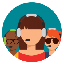 Icon graphic: call center representative