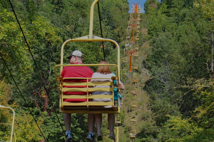 Tourists Ride The Sky Lift In Gatlinburg Tennessee